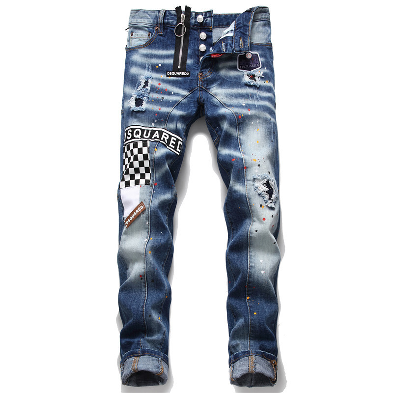New Tattered Splash Paint Men's Slim Patch Stretch Dsq2 Jeans Blue Skinny Beggar Pants