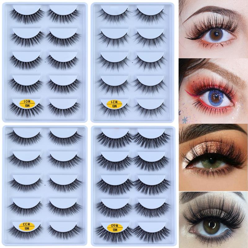 MB-W NEW 5 Pairs 100% Mink Eyelashes 3D Makeup False Eyelashes Full Strip Fake Lashes Fluffy Faux Cils Soft Maquiagem Eye Lashes