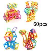 60pcs DIY Magnetic blocks Designer Construction Set Magnetic Building Blocks Modeling Educational Toys For Children Gifts