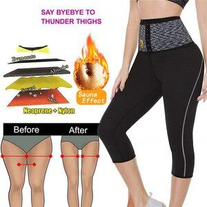 Image 2 - NINGMI Sport Pant mujer neopreno Sauna Body Shaper entrenador de cintura de adelgazamiento bragas con Control de barriga Leggings cortos con bolsillo para teléfono
