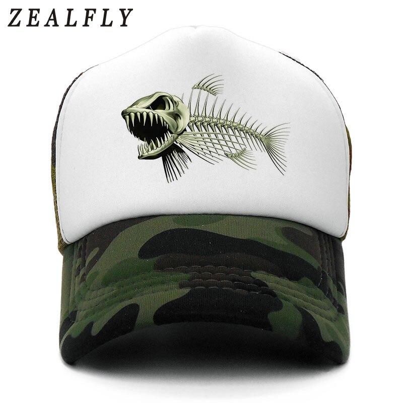 Fishbone Trucker Cap Men Fishing Skeleton Fish Bone Cap Hip Hop Baseball Caps Summer Fisher Man Mesh Hat For Men