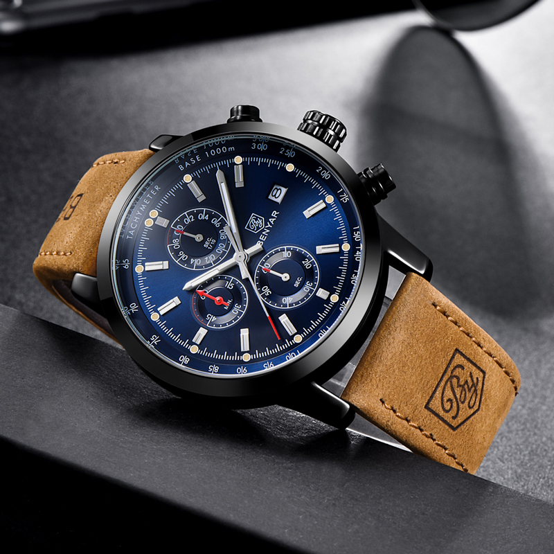BENYAR Men Watch Top Brand Luxury Quartz Watch Mens Sport Fashion Blue Analog Leather Male Wristwatch Waterproof Clock
