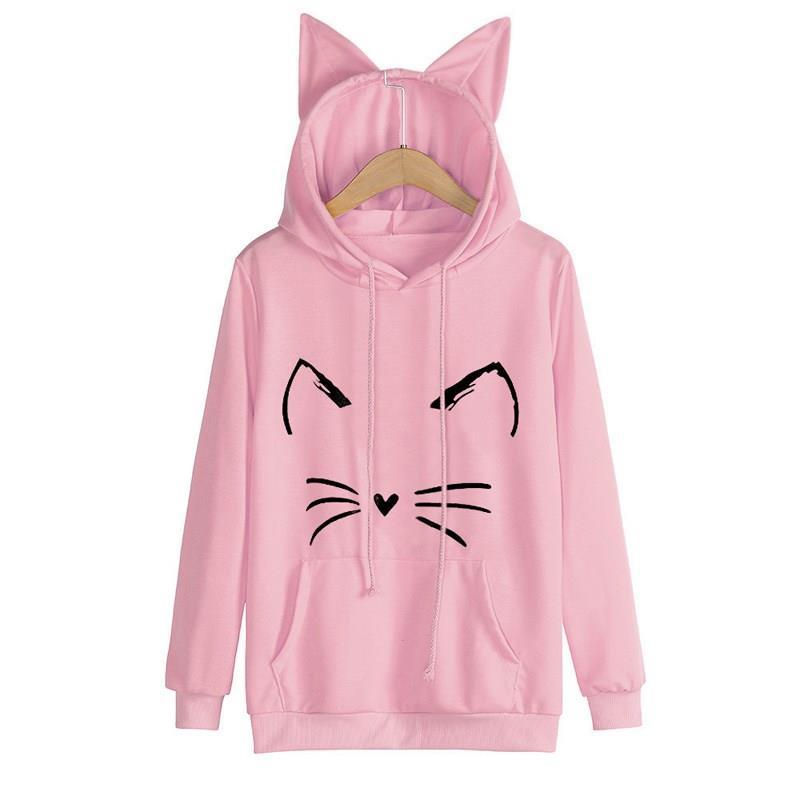 Nice automne femmes à manches longues mignon chat oreille à capuche pull sweat shirt col rond décontracté solide dessin animé chat imprimer sweat à capuche femme - 4