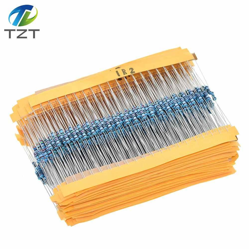TZT 100 قطعة 1/4W 1R ~ 22M 1% المعادن مقاوم من غشاء 100R 220R 1K 1.5K 2.2K 4.7K 10K 22K 47K 100K 100 220 1K5 2K2 4K7 أوم المقاومة