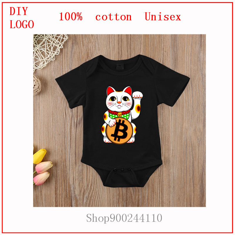 Bitcoin Lucky Cat Bodysuits Baby Cute Newborn Baby Rompers Summer Short Sleeve baby Boy Girl Onesie Clothes Costumes Pajamas 1