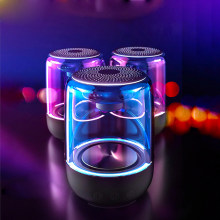 Kristal Transparan Nirkabel Bluetooth Speaker Colorful Light Kaca Subwoofer TF Kartu 32GB Penyimpanan 12H Daya Tahan(China)