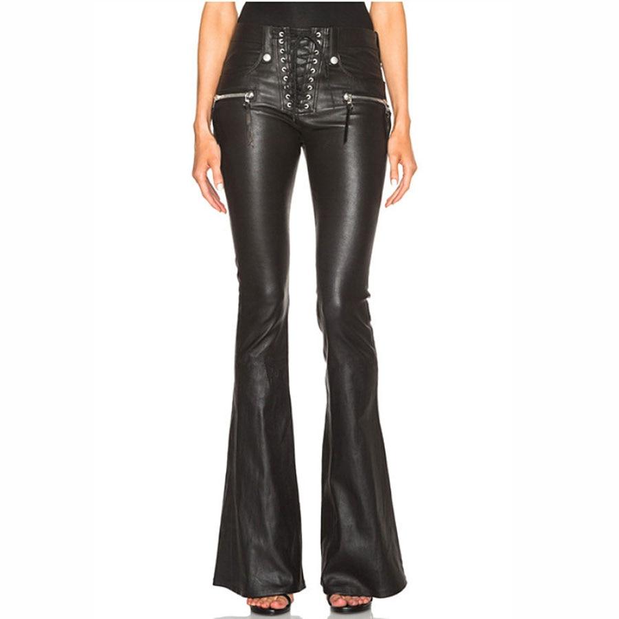 2018 ฤดูใบไม้ร่วงฤดูใบไม้ร่วงฤดูใบไม้ร่วงฤดูใบไม้ร่วงฤดูใบไม้ร่วงฤดูใบไม้ร่วงฤดูใบไม้ร่วงฤดูใบไม้ร่วงฤดูใบไม้ร่วงกางเกงสีดำกางเกงผู้หญิง Pu หนังกางเกง Streetwear คุณภาพสูงสไตล์อังกฤษขากว้างกางเกงขายาว-ใน กางเกงและกางเกงรัดรูป จาก เสื้อผ้าสตรี บน   1