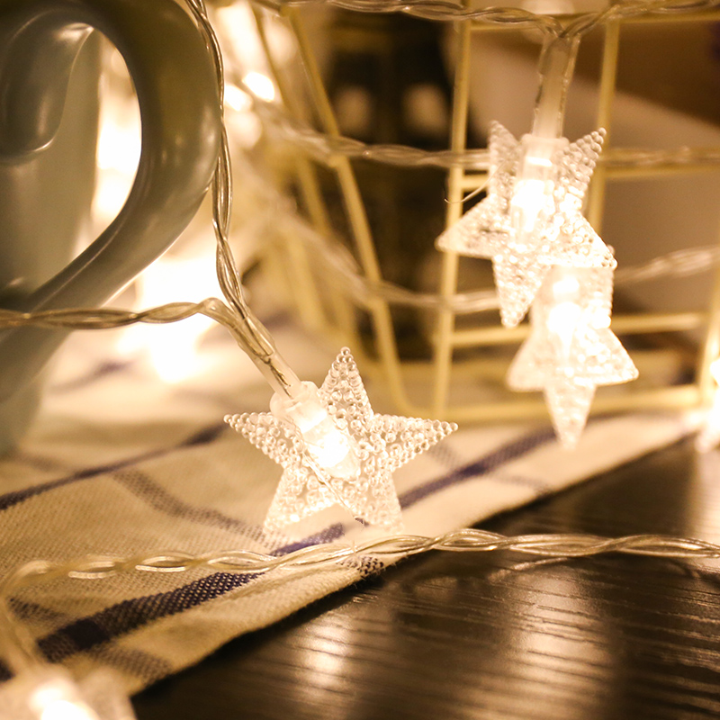 220V EU Plug 10M 20M 30M Outdoor LED Christmas Garland Star String Fairy Light For Xmas Tree Party Holiday Wedding Decoration