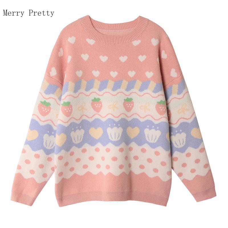 Strawberry Embroidery Knitted Pullover Sweaters 1