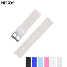 Pulseira de relógio de silicone macia genérico, bracelete preto azul rosa esporte de mergulho para huawei watch1 12mm 14 16mm 18mm