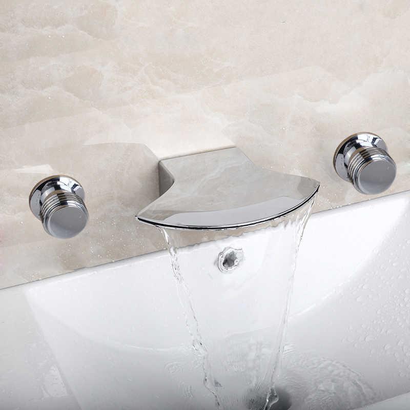 YANKSMART bateria do łazienki 3 szt. Mieszacz do wanny prysznicowej kwadratowa ściana prysznica zamontowany Hotel z litego mosiądzu wanna wodospad kran wannowy