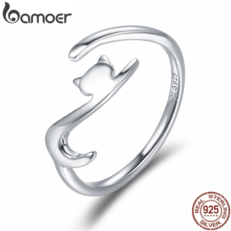 BAMOER 100% 925 Sterling Silver Sticky Cat with Long Tail Finger Ring Women Ring Adjustable Engagement Ring Jewelry SCR220(China)
