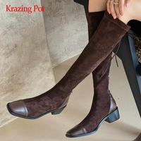 Krazing pot equestrian boots cow leather mixed cloth cross tied thick med heel square toe lace up gorgeous knee high boots L77
