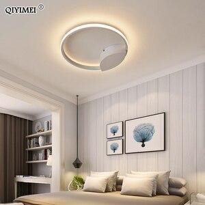 Image 5 - מודרני טבעות LED נברשות תאורה לחדר שינה סלון לבן שחור קפה אורות מתקן מנורות AC90 260V QIYAMEI