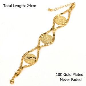 Image 5 - Length 24CM Turkey Coin Bracelet for Women Gold Color Turks Simgesi Osmanli Turasi Muslim Islam Bangle Arab Jewelry African