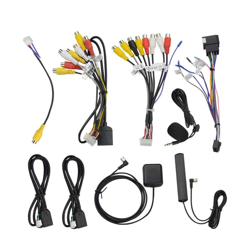 Mikrofon USB GPS Kamera Belakang RCA Output AUX Slot Kartu SIM Radio Converter 16PIN 4G Kabel Power Adaptor untuk Navigasi Mobil