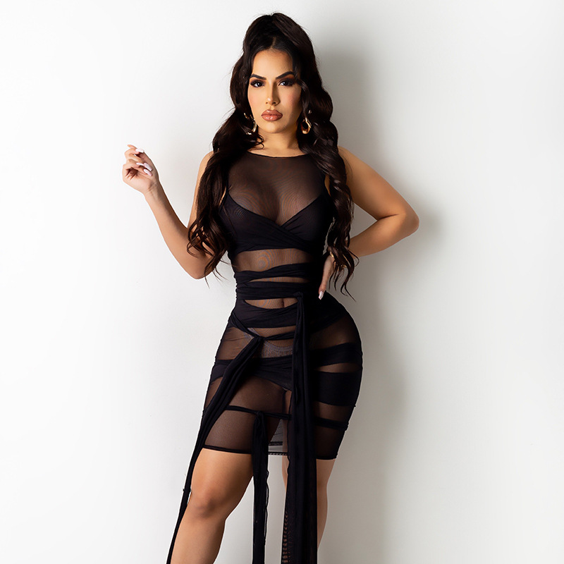 ANJAMANOR Sexy Mesh Bandage Dress Plus Size Summer Clothes for Women Birthday Party Club Outfits Bodycon Mini Dresses D12-BI30 5