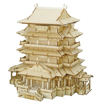 Puzzle 3D Wooden Puzzle Model Kit Ancient Architechture High-Precision Cutting for Kids Adults - Tengwang Pavilion