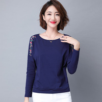 Long sleeve T shirt cotton 2019 spring new vintage Embroidery Tops women Casual O Neck Tops Tees Womens clothing