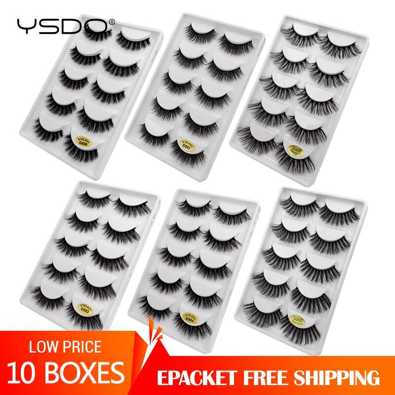 YSDO 10 Boxes Eyelashes Natural 3d Mink Lashes Fluffy Lashes False Eyelashes Cruelty Free Lashes Cilios Mink Eyelashes Maquiagem