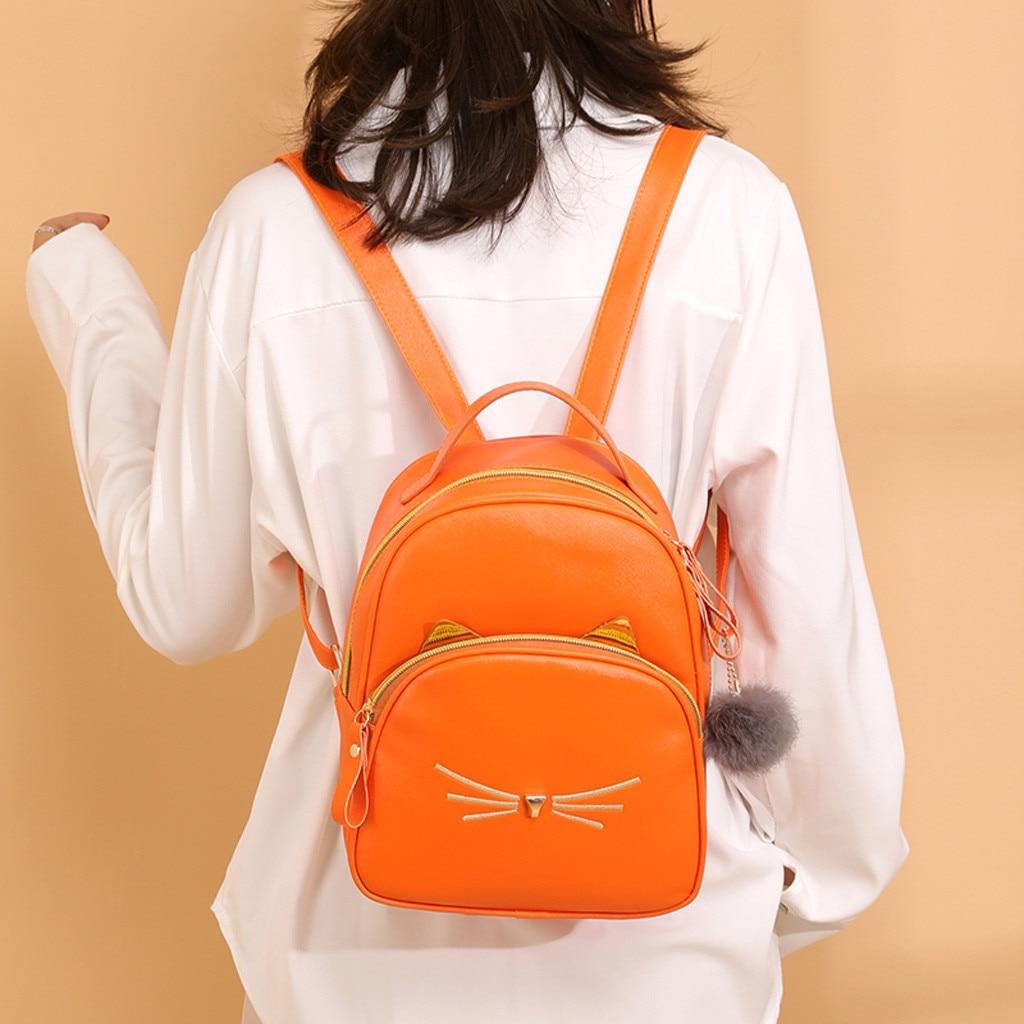 Женский маленький рюкзак MAIOUMY, милая Наплечная Сумка с кошками, женская сумка-Кроссбоди с меховыми помпонами для девочек-подростков, модная сумка, 2020-4