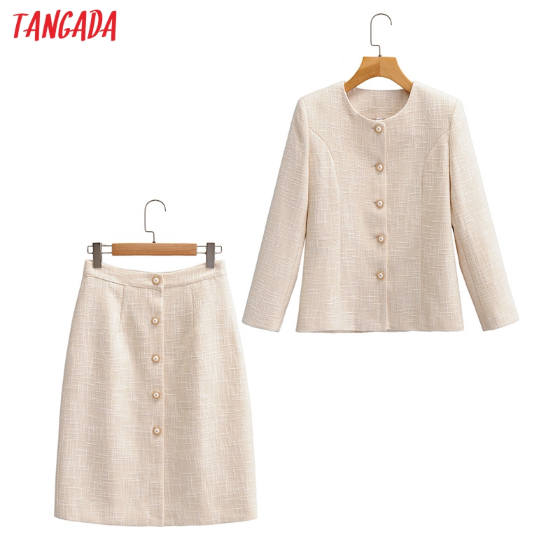 Tangada 2020 autumn winter women's set solid blazer skirts set suit 2 piece set office lady suit and skirts high quality SY133