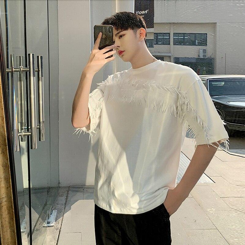 2019 été frangé lâche, T-shirt à manches courtes, col rond, couleur pure plume base top