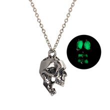 Fashion Luminous Creative Necklace Personality Skull Pendant Halloween Punk Jewelry for Women Men Gifts