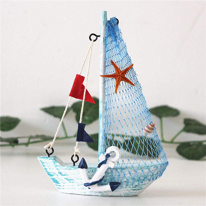 15cm Mediterranean Style Marine Nautical Wooden Blue Sailing Boat Ship Wood Crafts Ornaments Party Room Home Decoration