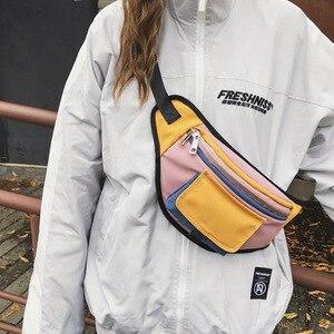 Image 2 - Mode taille sac Fanny Pack unisexe poitrine sacs rue Style banane sac Hip Packs toile matériel pratique paquet sac à main