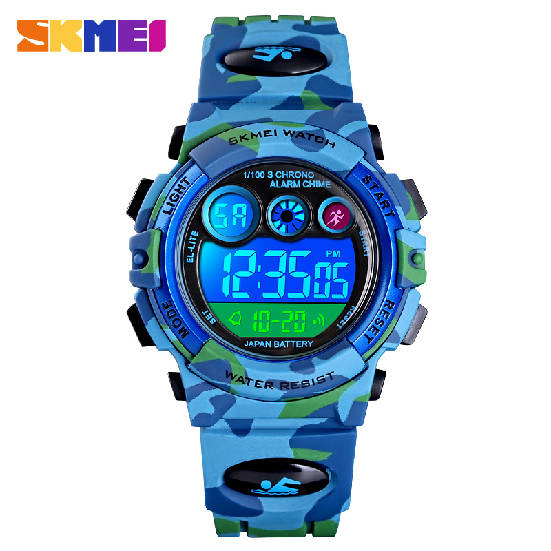 SKMEI Children LED Electronic Digital Watch Stop Watch Clock 2 Time Kids Sport Watches 50M Waterproof Wristwatch For Boys Girls
