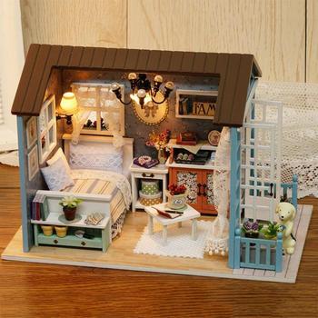Juguetes de madera de estilo americano para niños, casa clásica, Mini casa de muñecas DIY, juguetes con luz LED, Kit de muebles hecho a mano para casa de muñecas