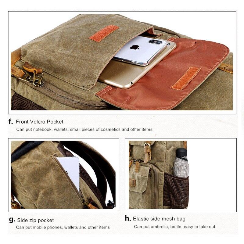 Batik lona impermeable bolsa de fotografía al aire libre resistente al desgaste gran cámara de fotos mochila hombres para Fujifilm Nikon Canon Sony - 5