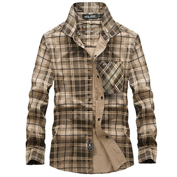 Men Plaid Breathable Tactical Shirts Long Sleeve 100% Cotton Tops Military Outdoor Sports Cargo Hiking Camping Male Clothes
