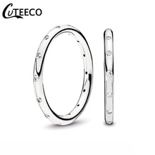 CUTEECO Simple Fashion Joint Rings Elegant Zircon Wedding Ring Gift For Women Engagement European Jewelry