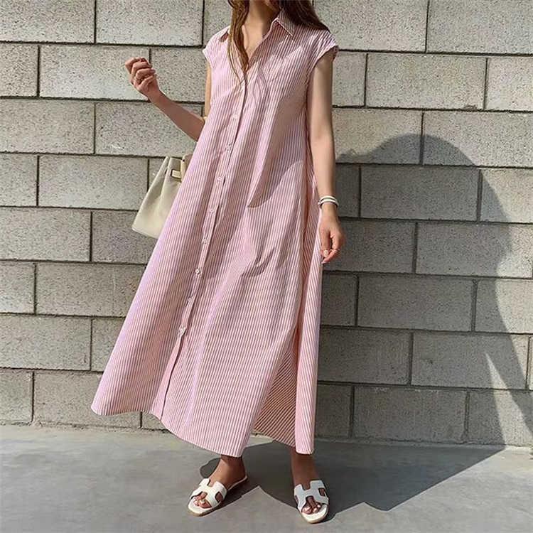 Colorfaith新 2020 女性の夏シャツドレス固体多色カジュアルノースリーブストライプ特大レースアップロングドレスDR1970