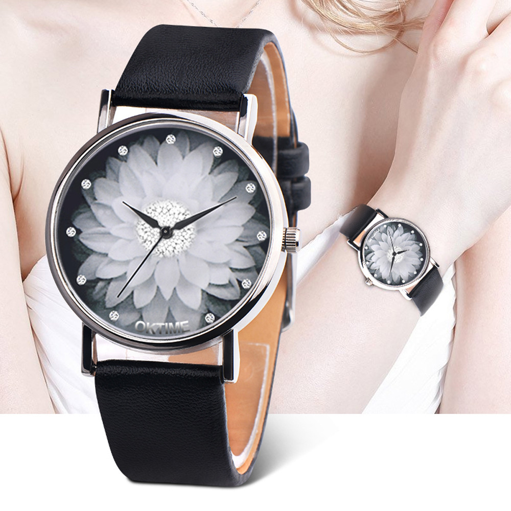 Reloj mujer Women Watch Rose Flower Pattern Dial Womens Wrist Watches Leather Strap Ladies Watch Clock Gifts relogio feminino