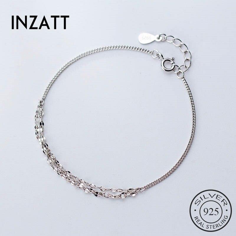 INZATT Plata de Ley 925 auténtica pulsera geométrica para las mujeres de moda fiesta delicado de moda joyería cadena accesorios lindos regalo