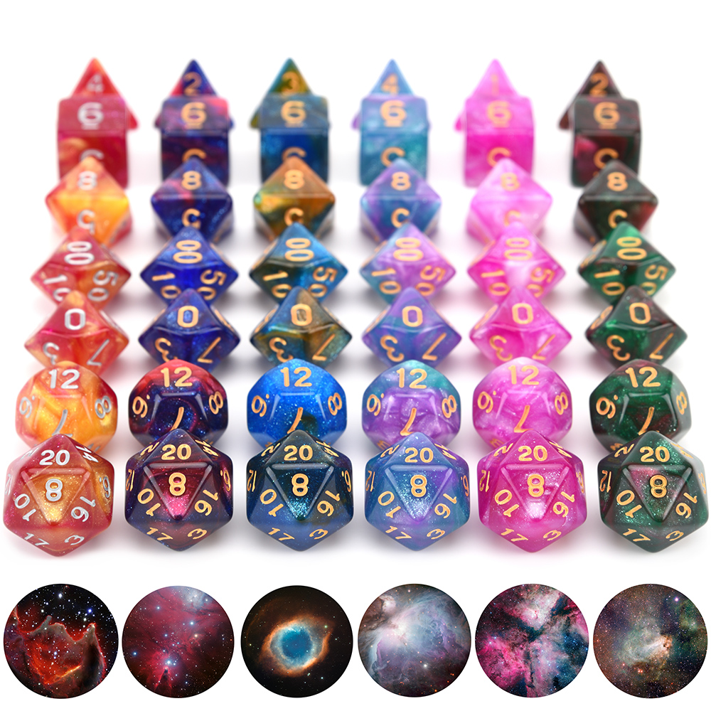 New Nebula Dice Set DnD Dice With Black Drawstring Bag For DnD MTG Tabletop RPGs Games