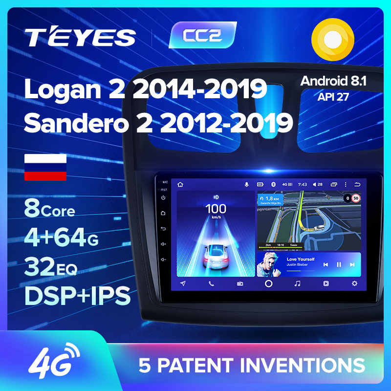 Teyes CC2 Voor Renault Logan 2 Sandero 2 2014 2019 Symbool Auto Radio Multimedia Video Player Navigatie Gps Android 8.1 geen 2din