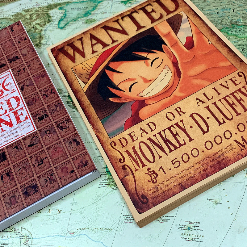 100 Sheets/Set Anime One Piece Wanted Marine Postcard Whole Characters Greeting Cards Message Card Fans Gift