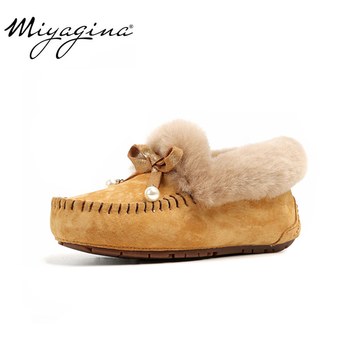 High Quality 100% Natural Fur Genuine Leather Women Flat Shoes New Fashion Women Moccasins Casual Loafers Plus Size Winter shoes