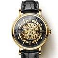 Giappone Miyota Movimento Della Vigilanza Degli Uomini di LOBINNI Meccanico Automatico Orologi di Moda di Cuoio di Scheletro Orologio relogio masculin 9010M-2