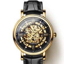 Japan Miyota Movement Watch Men LOBINNI Automatic Mechanical Watches Fashion Leather Skeleton Clock relogio masculin 9010M-2