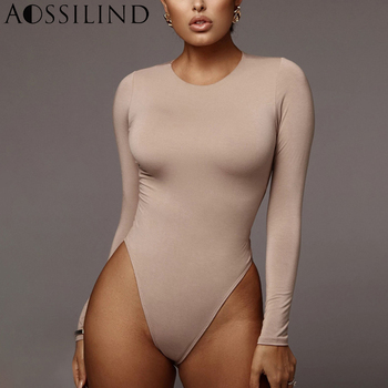 AOSSILIND Spring Skinny Sexy Bodysuit Women Long Sleeve O-Neck Soild Bodycon Rompers Casual Tops for