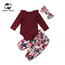 Floral Baby Set Newborn Girl Clothes Cute Autumn Fly Sleeve Romper + Pants Headband 3pcs Winter Outfit 0-24M