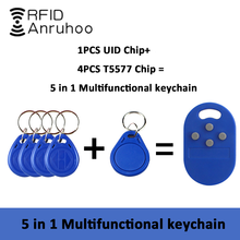 5-In-1 Smart Chip Keychain RFID Rewritable Copy Badge 125Khz T5577 Clone Tag 13.56Mhz NFC CUID 1K S50 Card Token Sticker