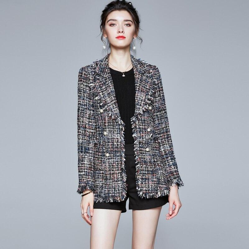 Женская твидовая куртка средней длины с отложным воротником