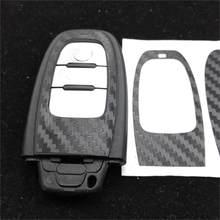Carro-estilo preto de fibra de carbono etiqueta chave do carro para audi a4 a6 rs4 a5 a7 a8 s5 rs5 8t q5 s5 s6 chave acessórios de montagem