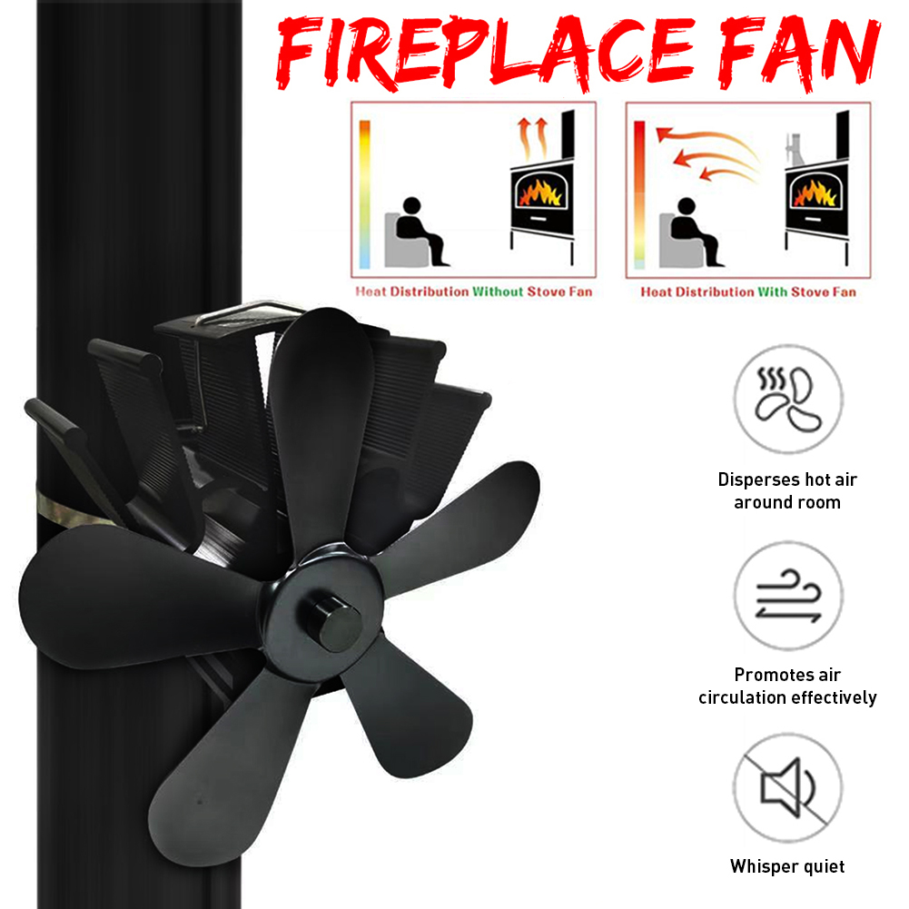 5 Blades Wall Hanging Heat Powered Stove Fan Log Wood Burner Eco Kindly Quiet Home Fireplace Fan Heat Distribution Fuel Saving